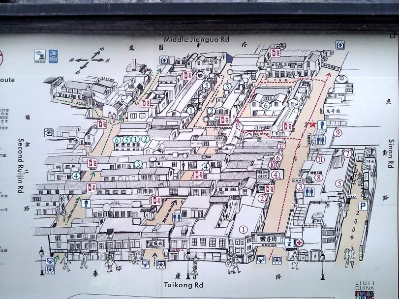 Map of Tianzifang shopping area.
