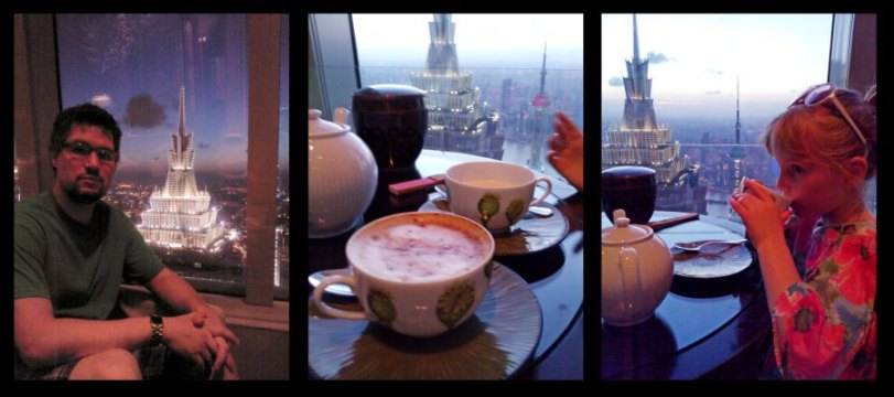 Sunset and coffee at the Park Hyatt Shanghai hotel.